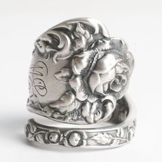 Victorian Rose Ring Flower Ring Sterling Silver Spoon by Spoonier