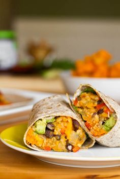 Butternut Squash Burritos. Soooo good, substitute quinoa for the rice (and real cheese, for the cheese).