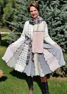 Winter Shadow Upcycled Sweater Coat with by WearableArtbyDenise