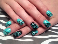 Gel nails, hand painted animal print