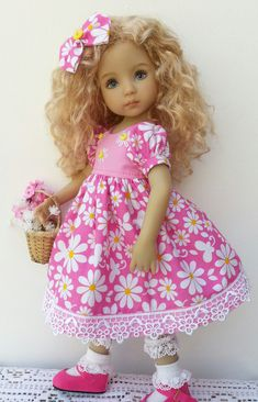 """Pink Daisy Dress with hand embroidered daisies on bodice and guipure daisy lace at hemline. With underskirt in pink tulle & lace. For Little Darling 13"""" dolls. For sale on facebook - find me as Sally Channon, I ship worldwide."""