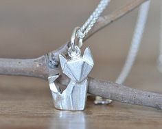 Sterling Silver Origami Fox Necklace, Gold Fox Necklace, Silver Fox Necklace, Origami Animal Jewelry, Origami Jewelry, Jamber Jewels I WANT THIS SO BAD