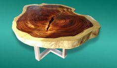 Live Edge Coffee Table Acacia Wood Live Edge Reclaimed Solid Slab by flowbkk on Etsy