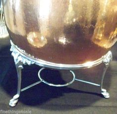 ART DECO SILVER EXTRA LARGE FOOTED ROUND TRIVET STAND / CHAFING WARMING TRAY