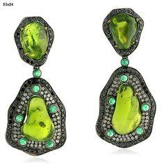65.55 ct Gemstone Diamond 18 kt Gold 925 Sterling Silver Dangle Earrings Jewelry