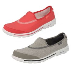 LADIES SKETCHERS SLIP ON TRAINERS IN HOT PINK OR GREY - STYLE 13510/GO WALK