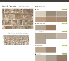 Texas Clay A Plant. Click the gray Visit button to see the matching paint names. Outdoor Paint Colors, Exterior Paint Colors, Exterior House Colors, Paint Colors For Home, Porch And Patio Paint, Acme Brick, French Country Exterior, Cinder Block Walls, Patio Plans