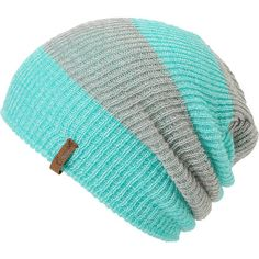 Stay warm and fashion friendly in the Piper green and grey Rugby striped beanie from Empyre Girls, featuring a custom fold-up or slouchy design and a striped pattern.