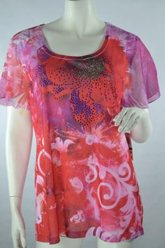 JM CollectionPull Over Knit Top Floral Forever OutsidePink Red Short Sleeve L #JMCollection #KnitTop