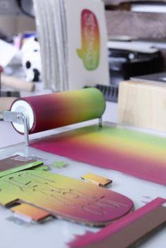 Linoldruck mit Farbverlauf, Anleitung von knallbraun.com