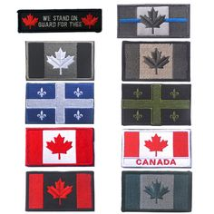 Embroidered Canada Flag Patches Army Badge Patch 3D Tactical Military Patches Fabric Cloth Armband National Flag Badge #Affiliate