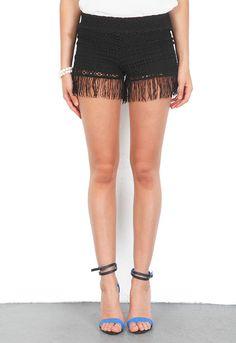 Nightcap Clothing Crochet Fringe Shorts in Black  $154