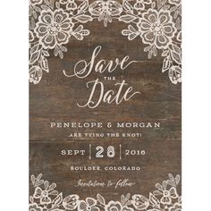 Woodgrain Lace Save The Date Cards by Jennie Hake | Elli