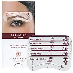 So again I'm trying to grow out my brows and I'm using these stencils for gauging what kind of arch I'm looking for and how well the look is going to work on my face. Its nice but make sure you fill in the spaces where the brow breaks up or you'll look silly.