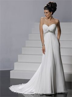 Feminine Sweetheart Neckline Empire Waist Chiffon Column Small Train Wedding Dress WD1954