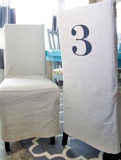 DIY Stenciled Parson Chair Slipcovers...