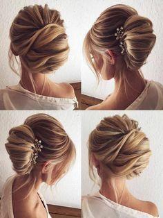 Vintage coiffure mariée avec headband coiffure mariée chignon volumineuse #weddinghairstyles