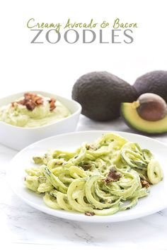 Creamy Avocado and Bacon Sauce over Zoocles - low carb, paleo, keto recipes