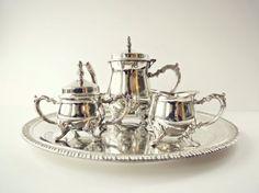 Vintage Silver Tea Set Miniature Tea Set Child by MiscellanyAvenue