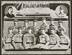 This historic photograph shows the St. Louis Brown Stockings baseball team in including Chris Von der Ahe and Charles Comiskey. It was created by the J. Strauss Studio and is part of the Sports Collection at the Missouri Historical Society, St. Cardinals Players, Cardinals Baseball, St Louis Cardinals, What Is Baseball, Better Baseball, Baseball Pennants, Hometown Heroes, American League, Baltimore Orioles