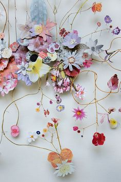 ANNE TEN DONKELAAR:  Flower construction #50 (w:120 h:70 d:6.5 cm - 3D collages made from pressed wildflowers, dried stems, and paper cutouts on top of tiny little pins