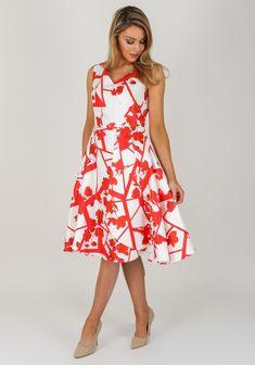 a1f6b748f9db1 Ella Boo Floral Overlay Flared Dress, Cream   Ella Boo SS18 ...
