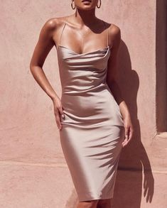 Waisted dress - The most beautiful dresses and seasonal outfits Satin Dresses, Gowns, Fitted Dresses, Gold Satin Dress, Pink Silk Dress, Silk Formal Dress, Silk Cami Dress, Bodycon Dress Formal, Silky Dress