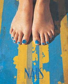 This beach inspired salon poster features a summer theme with bright yellow and blue colors and toenail polish to match. - $1