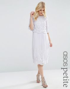 ASOS Petite | ASOS PETITE PREMIUM Midi Embroidered Dress at ASOS £85