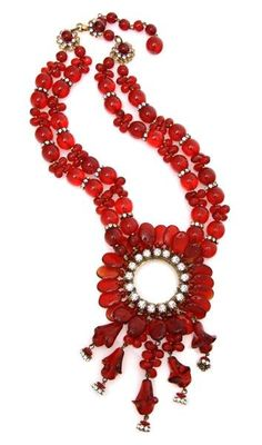 A Miriam Haskell Red Glass Necklace,