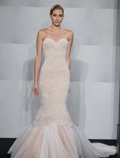 Sweetheart Mermaid Wedding Dress  with Dropped Waist in Beaded Lace. Bridal Gown Style Number:32593568