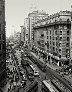 Historic San Francisco:  Streetcar Traffic along Market Street | March 20, 1940