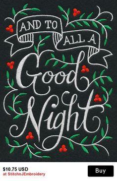 To All a Good Night... on Black Cotton Kitchen Tea Towel