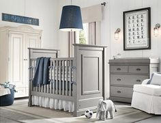Love gray and navy blue for guest room. (Gray Blue Boys Nursery Design | Goyovo)