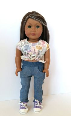 Handmade 2pc Jeans and parisan theme crop top by DreamDollDesignz