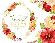 Fresh Autumn Bouquets & wreath. Handpainted watercolor clipart, wedding…
