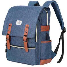 Amazon.com: Modoker Vintage Laptop Backpack Travel Bookbag for Women Men,School College Backpack with USB Charging Port Fashion Backpack Purse Fits 15 inch Notebook (Blue): Electronics