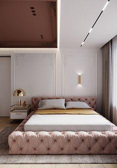 Dumitru Martiniuc on Behance Modern Bedroom Design, Home Room Design, Contemporary Bedroom, Bed Design, Hotel Boutique, Stylish Bedroom, Luxurious Bedrooms, Amazing Bedrooms, Apartment Interior