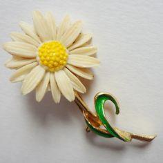 Vintage Celluloid Brooch, Enamel Gold Tone Daisy by CarolynsTreasure on Etsy