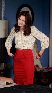 Blair Waldorf (3x22). Parker pintuck sailboat blouse and Topshop sailor skirt in red.