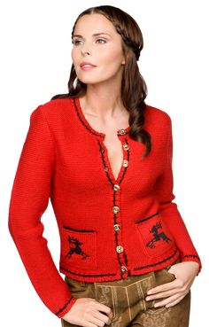 Stockerpoint urige Trachten Strickjacke Nola rot linkslinks