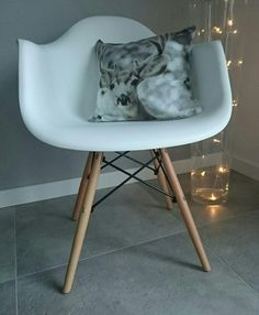#myhome #chair #white #grey #winter #pillow