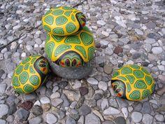 Sassi dipinti - Tartarughe d'acqua dolce