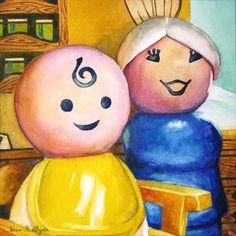 """Grandma & The Baby"" 5"" x 5"" - watercolor on paper  http://www.dailypaintworks.com/Artists/kara-k-bigda-394"