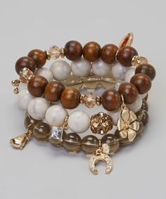 Take a look at the Brown Bead & Charm Bracelet Set on #zulily today!