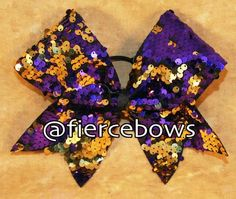 Purple and Gold Reversible Sequin Bow