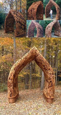 A stunning fairy arch made by a very talented woodworker! Love how the natural styling of it fits in with it's surroundings. http://creativecarpentryco.com/gallery.html
