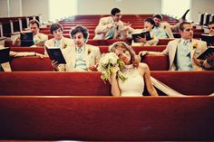 Bride with the groomsmen...LOVE the funness of this photo!