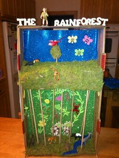very creative rain forest diorama (labeled)