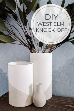 Love the dipped vase look? Getting this West Elm look is easy! Yes, even down to the stone texture! See how to turn a cheap glass vase into an expensive-looking vase! #westelmvase #vases